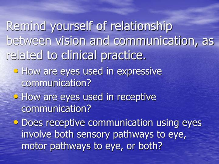 Remind yourself of relationship between vision and communication, as related to clinical practice.
