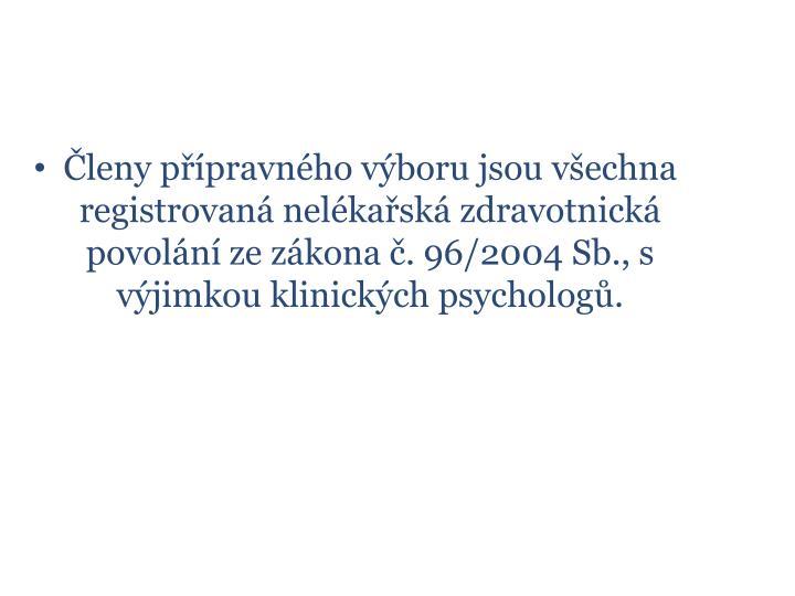 Členy přípravného výboru jsou všechna registrovaná nelékařská zdravotnická  povolání ze zákona č. 96/2004 Sb., s výjimkou klinických psychologů.
