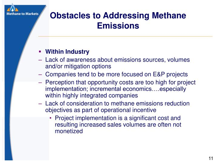 Obstacles to Addressing Methane Emissions