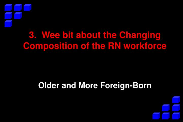 3.  Wee bit about the Changing Composition of the RN workforce