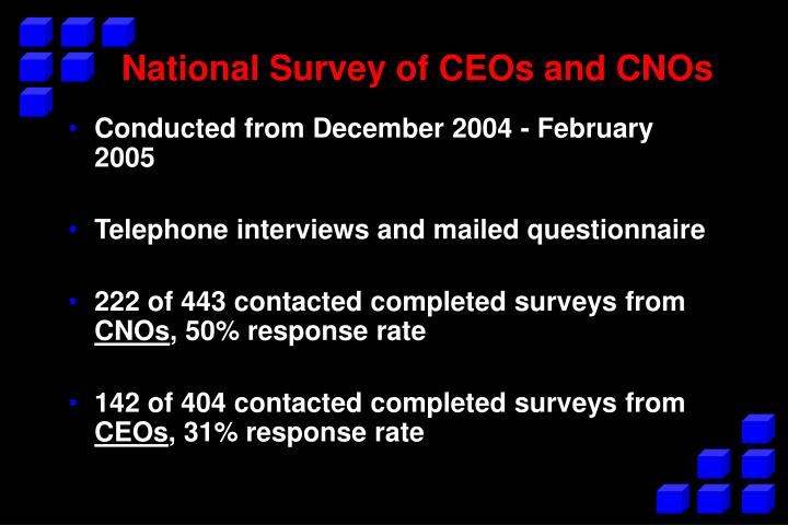 National Survey of CEOs and CNOs