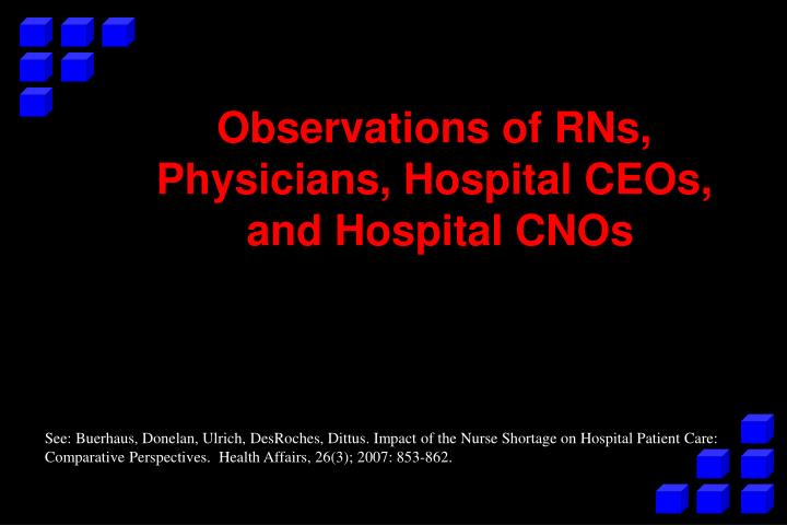 Observations of RNs, Physicians, Hospital CEOs,