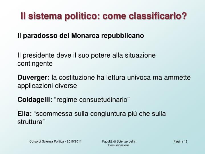 Il sistema politico: come classificarlo?