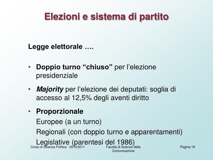 Elezioni e sistema di partito