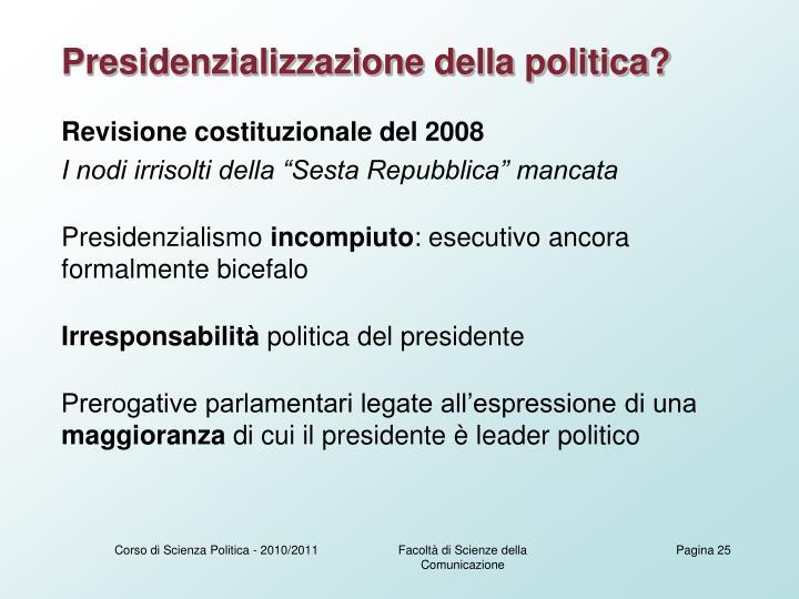 Presidenzializzazione