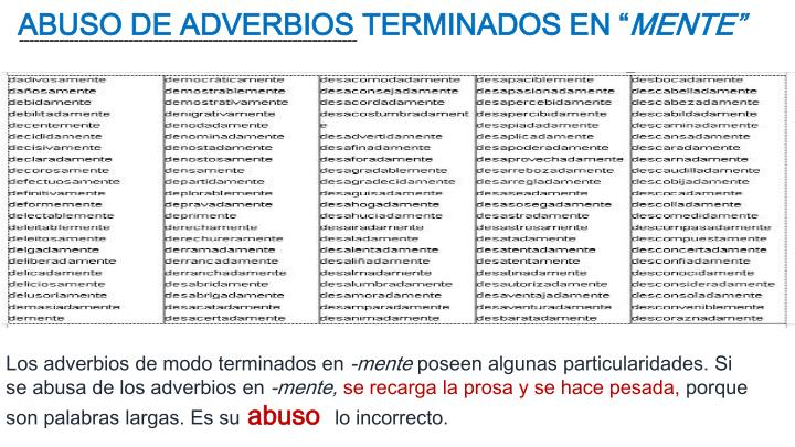 ABUSO DE ADVERBIOS TERMINADOS EN ""