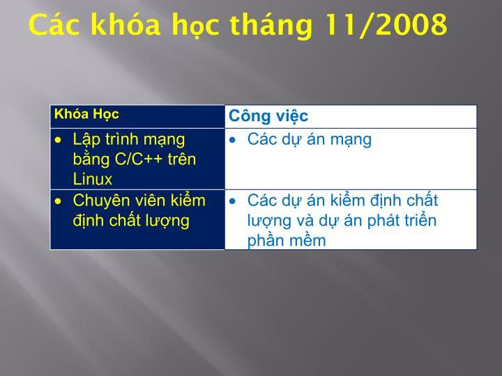 Các khóa học tháng 11/2008