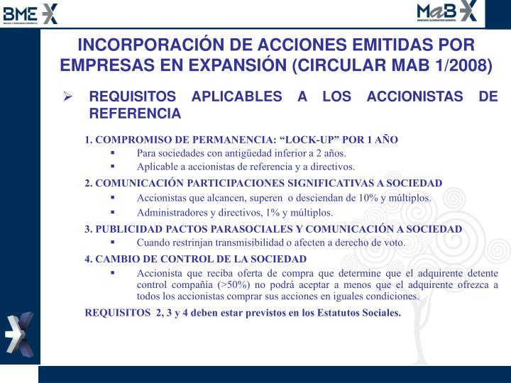 INCORPORACIÓN DE ACCIONES EMITIDAS POR