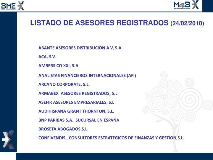 LISTADO DE ASESORES REGISTRADOS