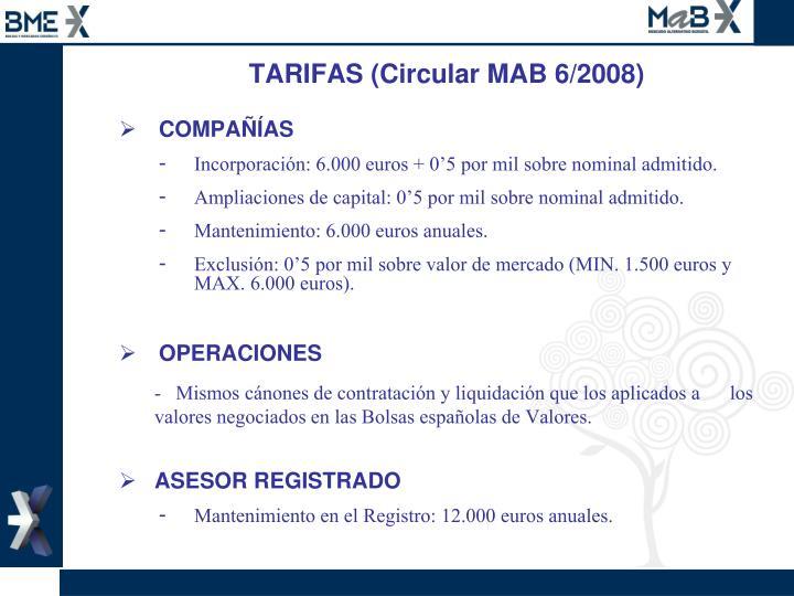 TARIFAS (Circular MAB 6/2008)