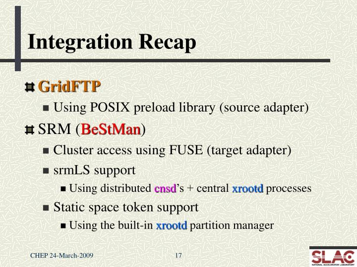 Integration Recap