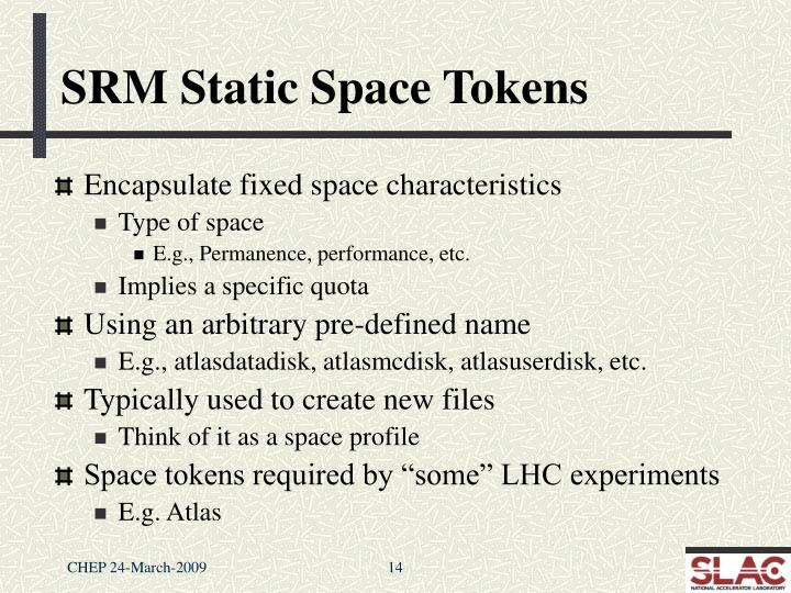 SRM Static Space Tokens