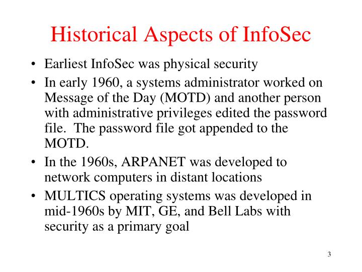 Historical aspects of infosec