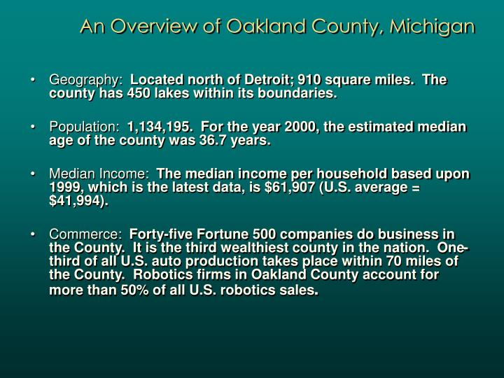 An Overview of Oakland County, Michigan