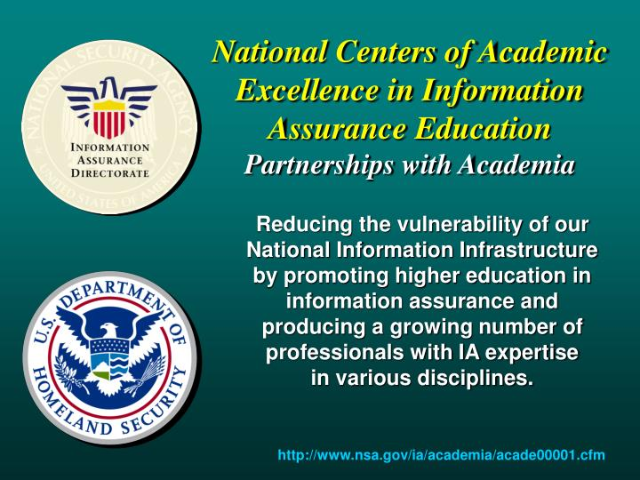 National Centers of Academic Excellence in Information Assurance Education