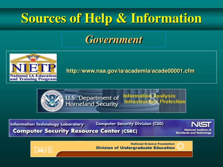 Sources of Help & Information