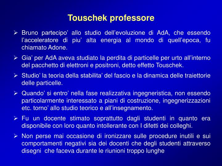 Touschek professore