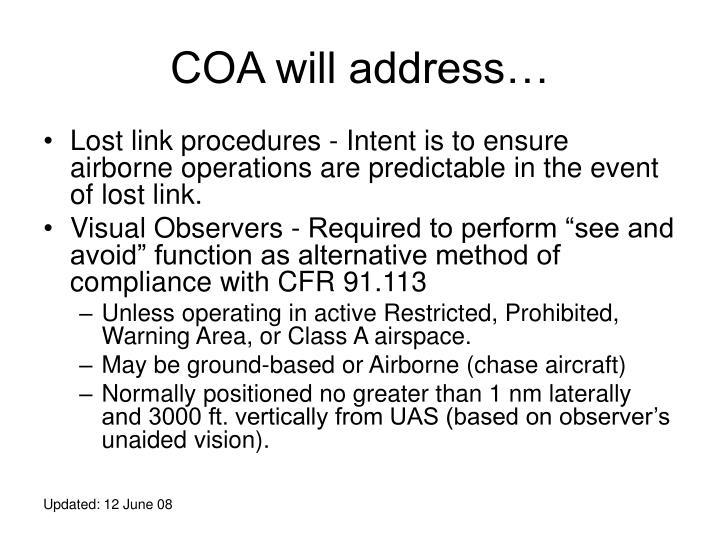COA will address…