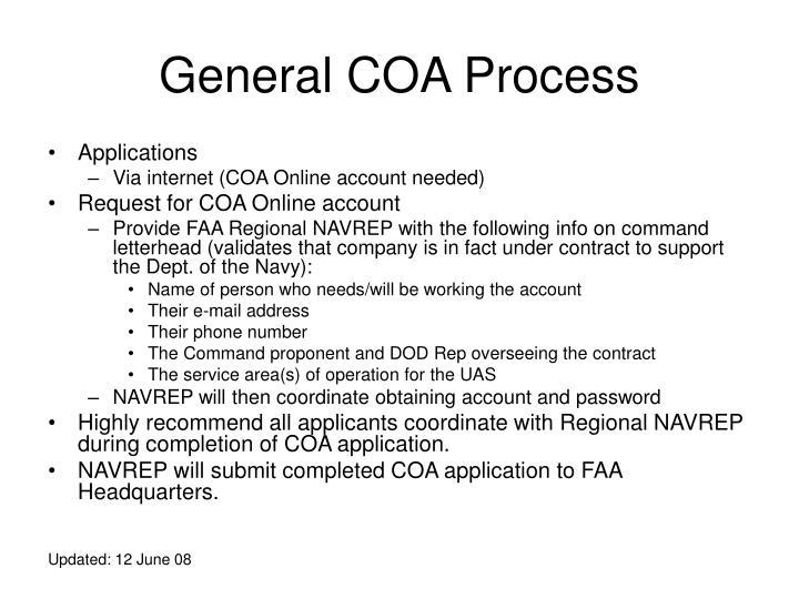 General COA Process