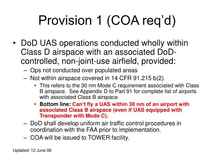 Provision 1 (COA req'd)