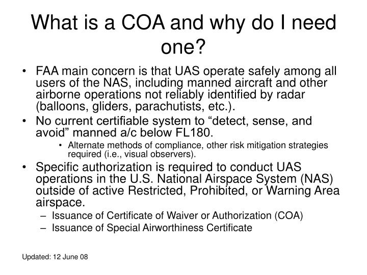 What is a COA and why do I need one?