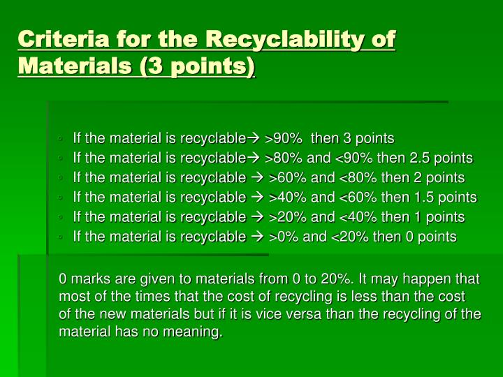 Criteria for the Recyclability of Materials (3 points)