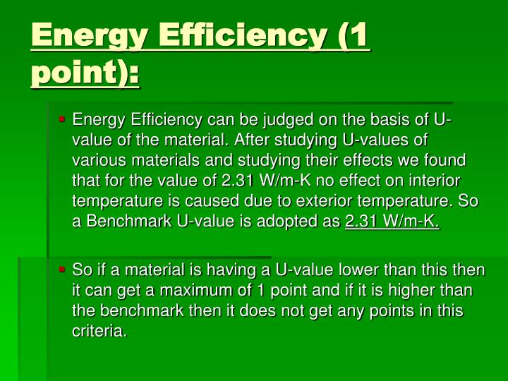 Energy Efficiency (1 point):