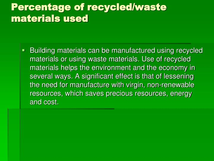 Percentage of recycled/waste materials used