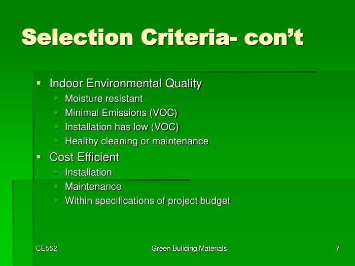 Selection Criteria-