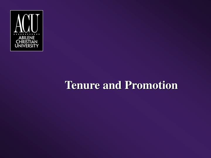 Tenure and Promotion