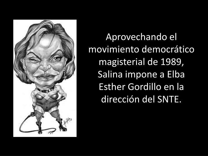 Aprovechando el movimiento democrático magisterial de 1989, Salina impone a Elba Esther Gordillo en la dirección del SNTE.