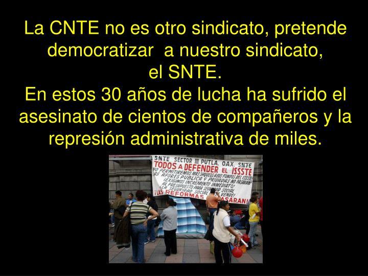 La CNTE no es otro sindicato, pretende democratizar  a nuestro sindicato,          el SNTE.