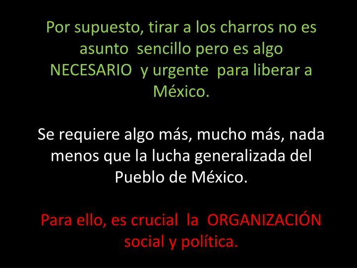 Por supuesto, tirar a los charros no es asunto  sencillo pero es algo                     NECESARIO  y urgente  para liberar a  México.