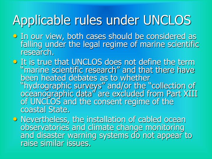 Applicable rules under UNCLOS