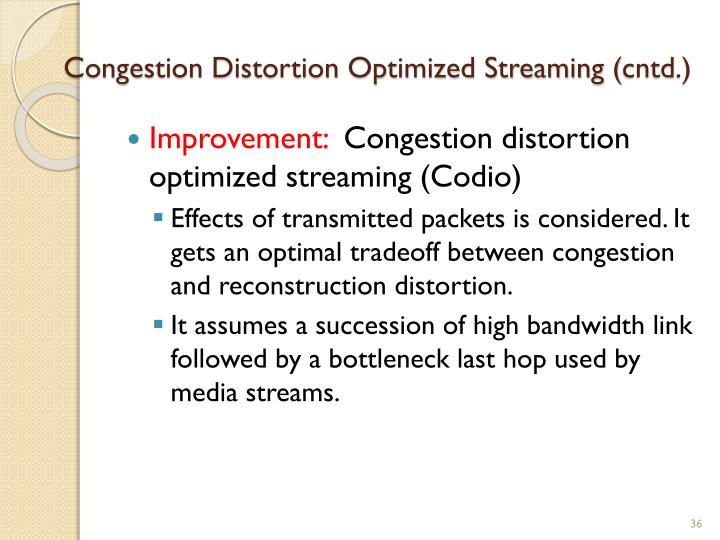 Congestion Distortion Optimized Streaming (