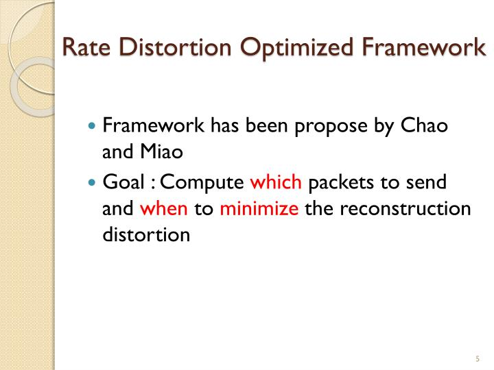Rate Distortion Optimized Framework