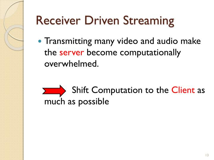 Receiver Driven Streaming