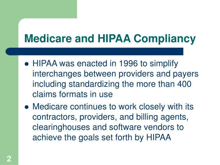 Medicare and HIPAA Compliancy