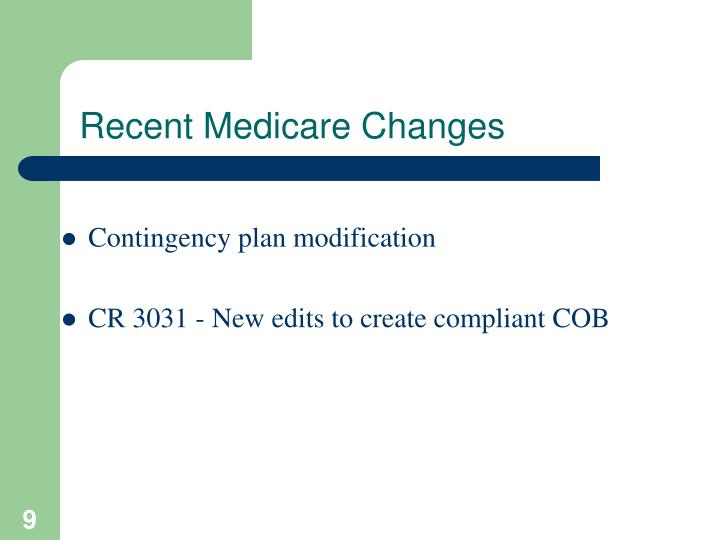 Recent Medicare Changes