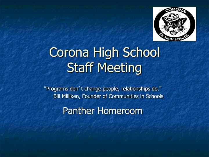 Corona high school staff meeting