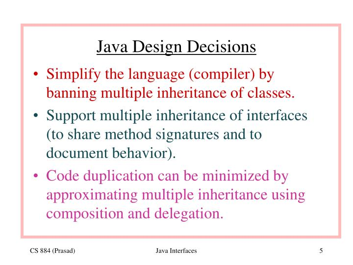 Java Design Decisions