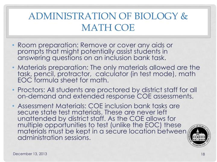 Administration of Biology & Math COE