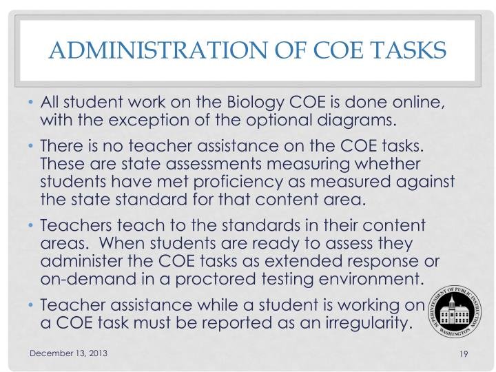 Administration of COE TASKS