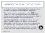 administration of coe tasks