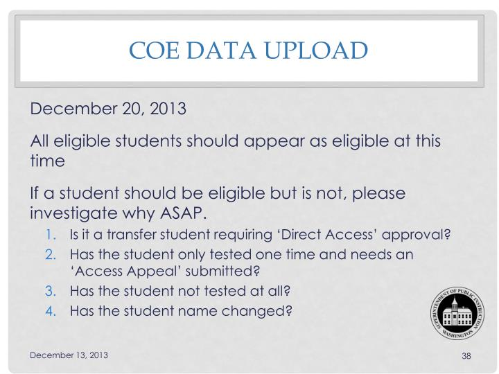 COE data upload