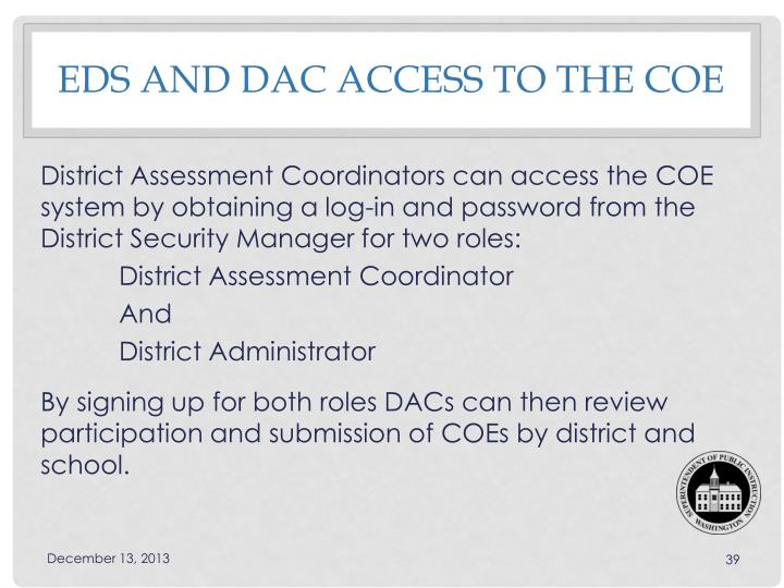 EDS and DAC access to the COE