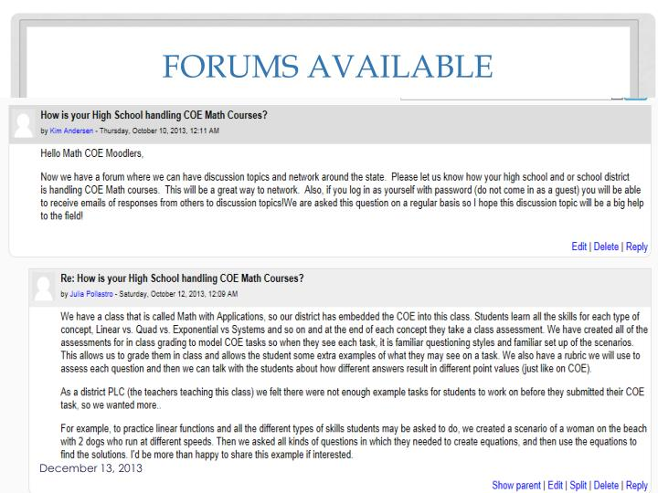 Forums available