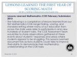 lessons learned the first year of scoring math http www coe k12 wa us page 274
