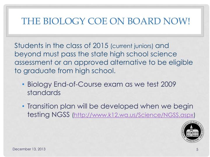 the Biology COE On Board Now!