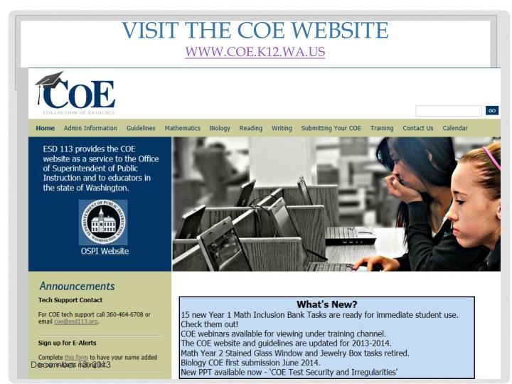 Visit the COE website
